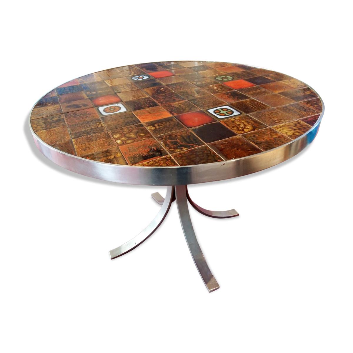 table ronde ann e 70 achats ventes expertises. Black Bedroom Furniture Sets. Home Design Ideas